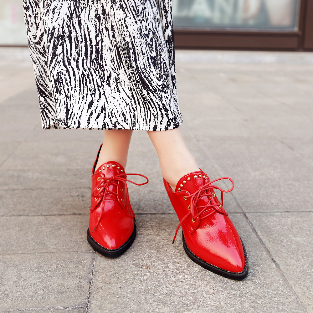 Fashion Women Casual Shoes Elegant Pointed Toe 6.5cm Square Heels Black White Red High-quality Shoes Woman US Size 4-14<br><br>Aliexpress