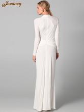 Modest Long White High Neck Long Sleeve Ruffle Chiffon Women Evening Dresses