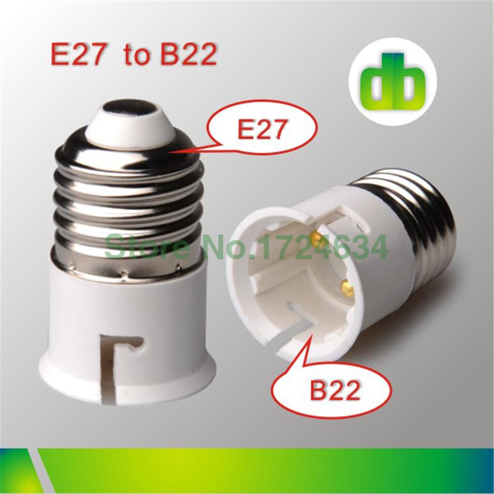 1pcs White Retardant PBT e27 to b22 lamp socket adapter converter b22 to e27 bulbs socket splitter adapter holder 85-220V(China (Mainland))