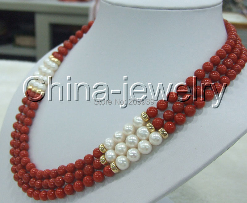 huij 002783 AAA+ 3row 18-20 8mm natural red coral &amp; white round FW pearl necklace-14k/20<br><br>Aliexpress