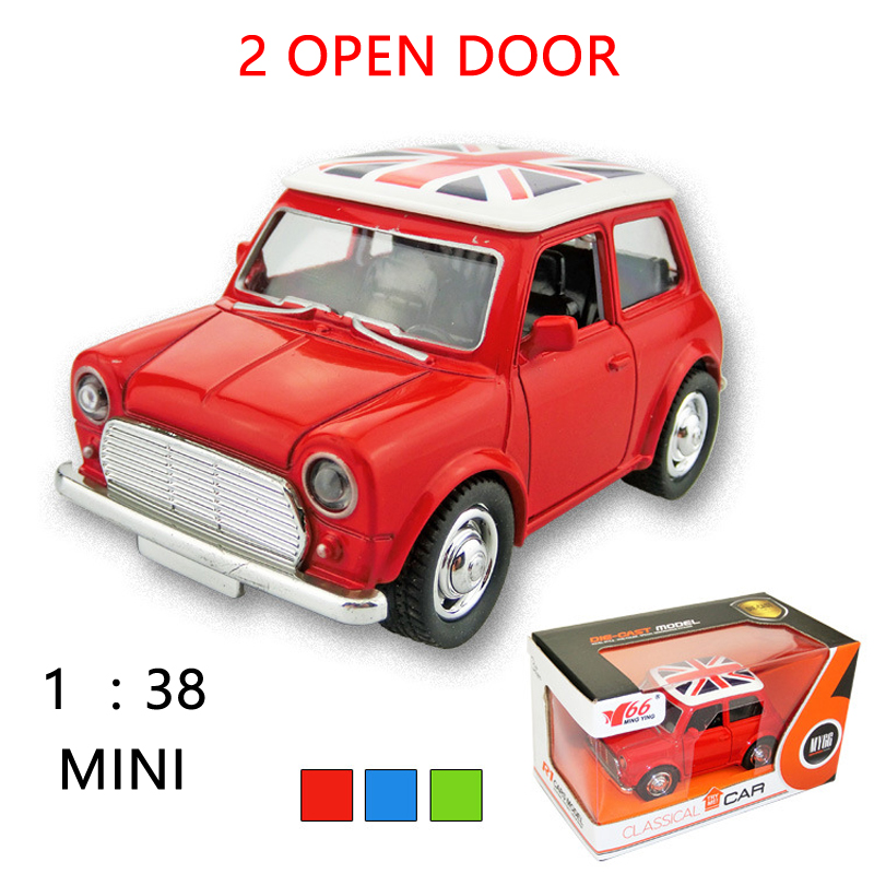 1:38 Diecast Metal Q Mini Classic Cars Pull Back 2 Open Door Simulation Car DIY Model Toys For Children Kids Gifts Toys Cars(China (Mainland))