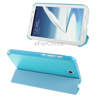 Гаджет  Blue 3-folding Crazy Horse Texture Leather Shell Cover with Holder for Samsung Galaxy Note 8.0 with Retail Package Free Shipping None Изготовление под заказ