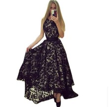 Buy 2017 Lace Summer Dress Black White Sexy Dress Women Sleeveless Prom Ball Party Dresses Long Maxi Lace Dress Vestidos Q0081B for $13.29 in AliExpress store