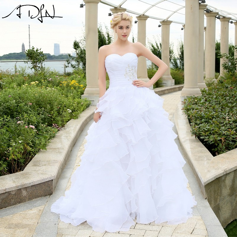 In Stock Wedding Dress 2017 vestidos de noiva A-line Ivory/White Ruffles Beaded Sweetheart Organza Plus Size Corset Bridal Gowns(China (Mainland))