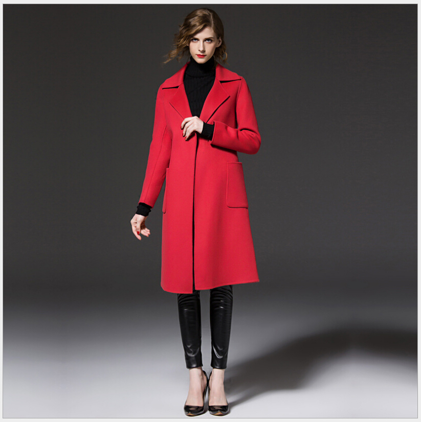 Latest European Style Women Winter Coat High-end Cashmere Woolen Cloth Coat Women Slim Big yards Leisure Medium long Coat G2234Одежда и ак�е��уары<br><br><br>Aliexpress