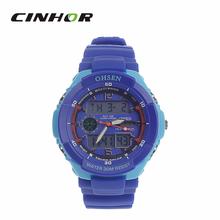 Ohsen AD1136 del deporte de hombre analógico + Digital de pulsera de cuarzo – Deep Blue + azul claro ( 1 x CR-2025 )