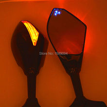 3 Blue Point Dual LED Motorcycle Integrated LED Turn Signal Rearview Side Mirror For Honda CBR 600 F4i 929 954RR F1 F2 Hurricane(China (Mainland))