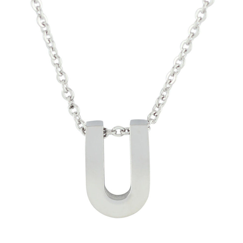 18'' Letter Alphabet Pendant Necklace - U