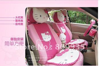 2012 Summer Cool HelloKitty Auto Car Neckrest Front Back Saddle Seat Cover 29pcs kit car accessories