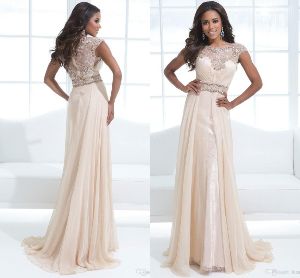 2015 New Modest Prom Dresses With Sleeves Sheath Scalloped ...