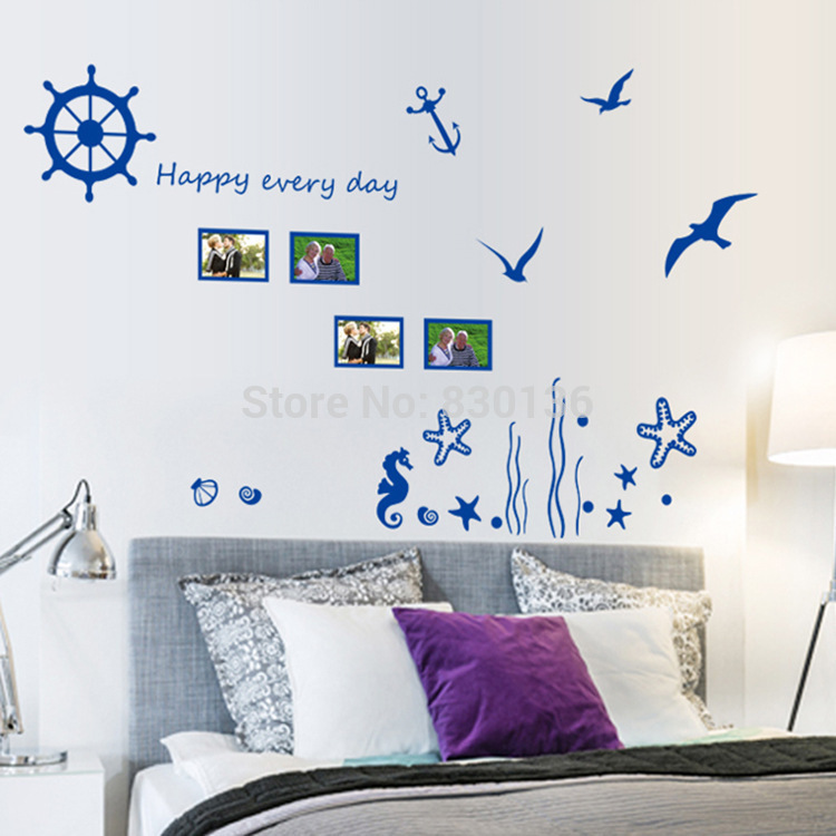 "New Arrive Blue sea ""Underwater World"" Seagull wall stickers for living room for children kids bed room wall sticker home decor(China (Mainland))"