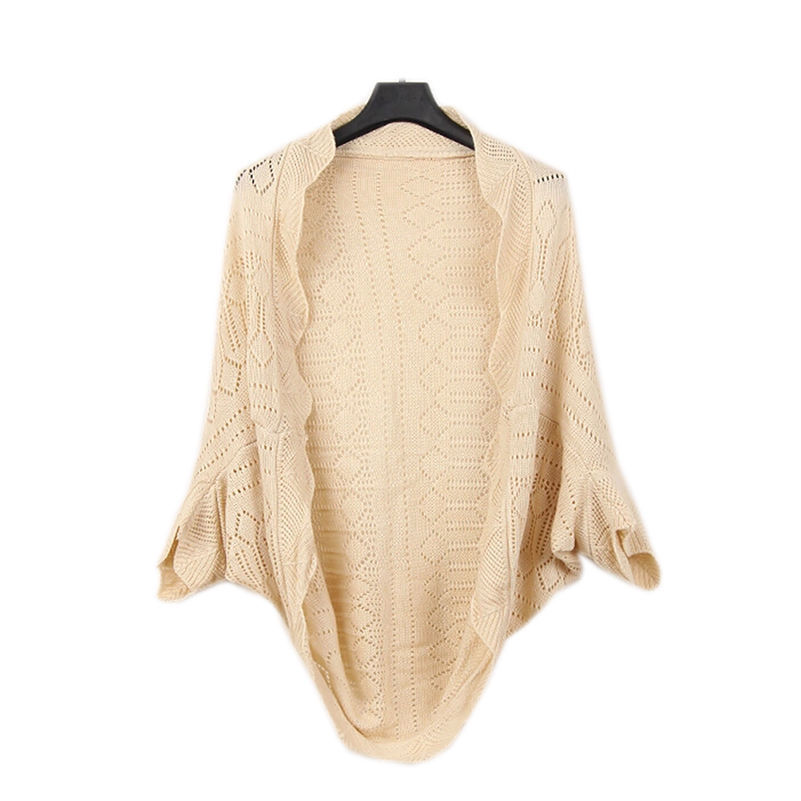 2015 summer cutout chiffon lace crochet batwing sleeve waistcoat cardigan loose sweater female thin cardigan for