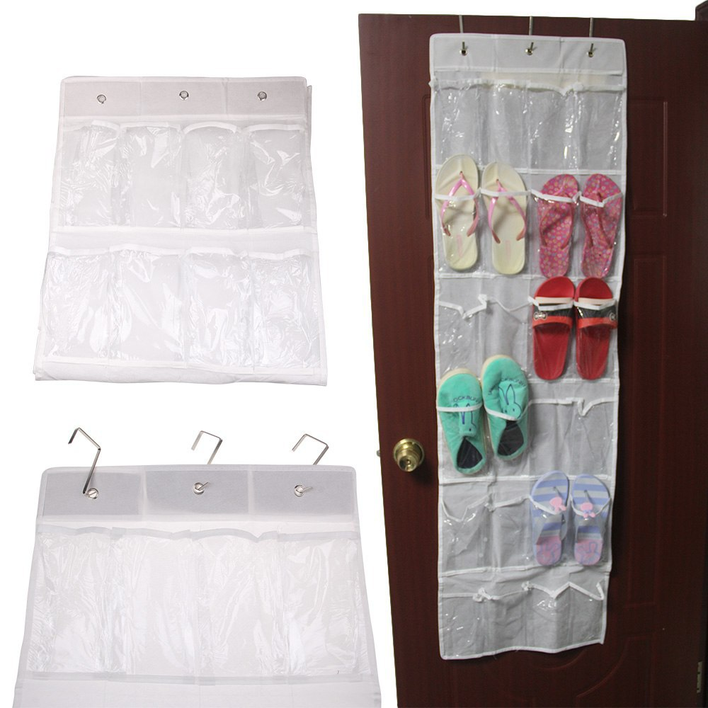 Newest 24 Pockets Shoes Storage Bag Clear Over Door Hanging Shoe Organizer Rack With Hooks 4-east(China (Mainland))