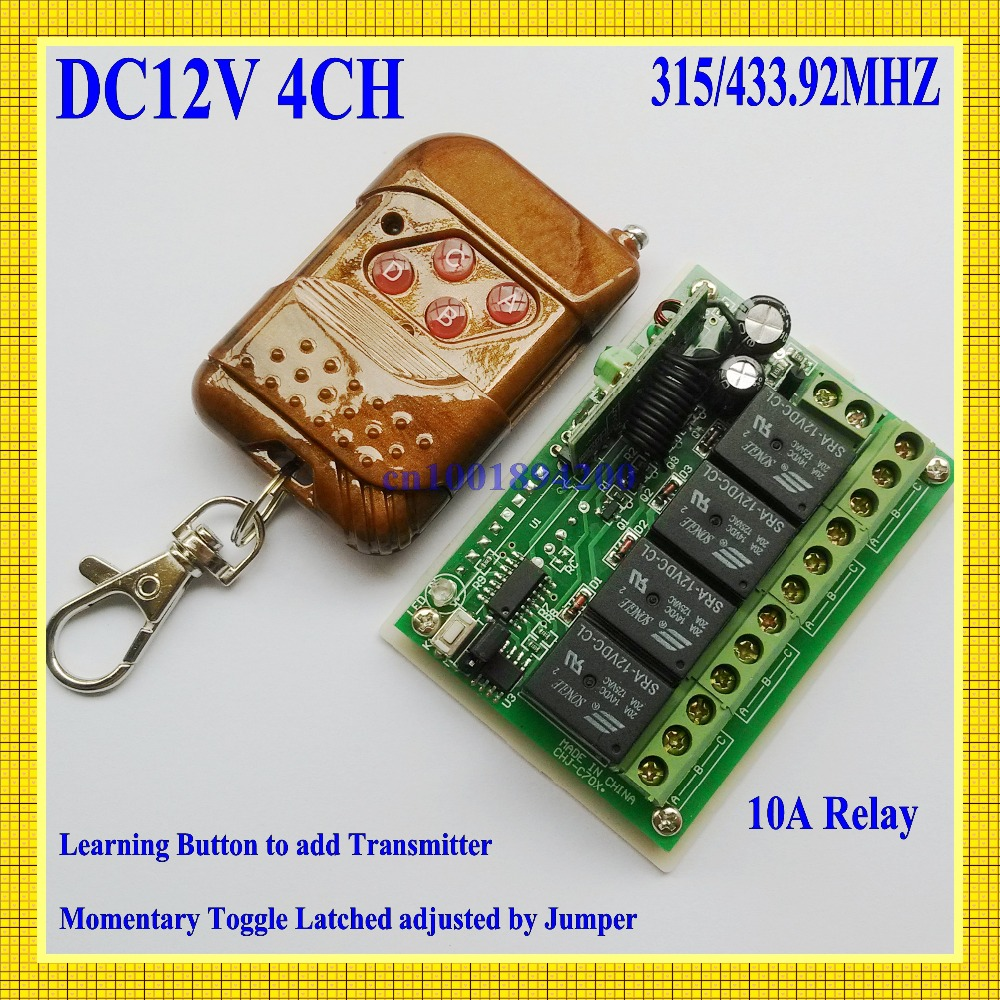4 Relay CH DC12V  Wireless Receiver&amp;Transmitter Momentary Toggle Latched RF Remote Control Switch System LED SMD ON OFF<br><br>Aliexpress