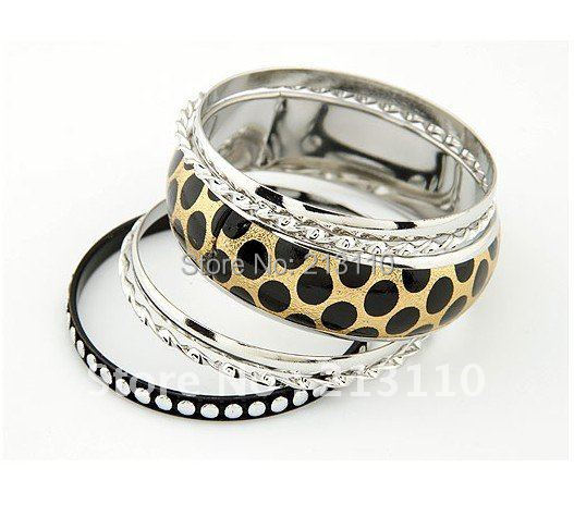 Fashion Rhodium Plated leopard shaped enamel bangle sets ,bracelet sets for women accessory ,clothes gift(China (Mainland))