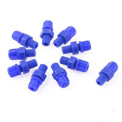 10 Pcs 9.7mm 3/8PT Thread Blue Plastic Air Pipe Connector Fitting BMC6-01(China (Mainland))