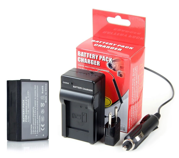 7.4V 1200mAh LP-E10 LPE10 LP E10 Lithium Replacement Camera Battery Canon1100D Rebel T3 Kiss X50+Charger  -  JUSTDO store