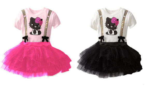 New Girl's Dresses, Casual Summer lace dress Hello Kitty Print for Wholesle kids, tutu style fashtion, free shipping