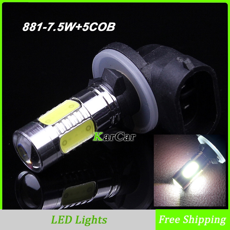 881 H27 7.5W 5 COB Chip High Bright LED Fog Light with Lens, H27W Car Daytime Running Lights Bulbs Free Shipping<br><br>Aliexpress