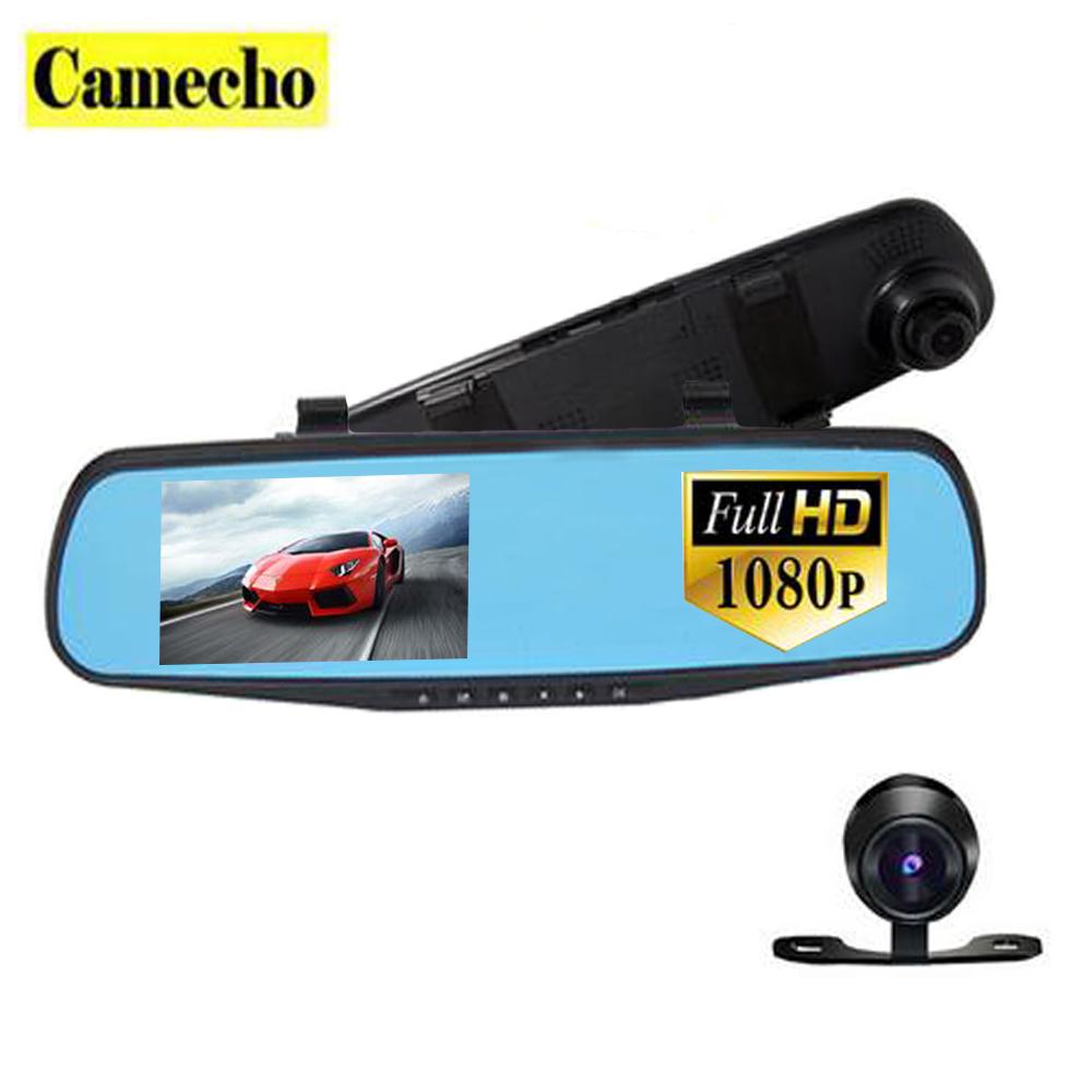 4.3 inch Dual Lens Car DVR Rear View Camera Full HD 1080P Car Camera Rearview Mirror Detector Registrator Night Vision Dashcam(China (Mainland))