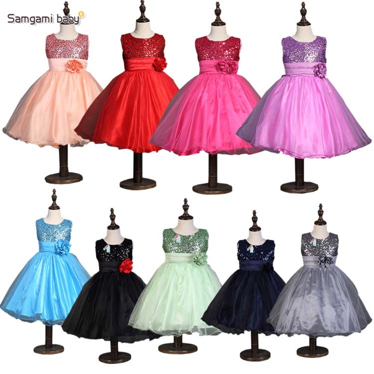 2016 New Flowers Dress For Girls For Wedding and Party Summer Baby Clothes Princess Party Kids Dresses For Girl Infant Costume(China (Mainland))