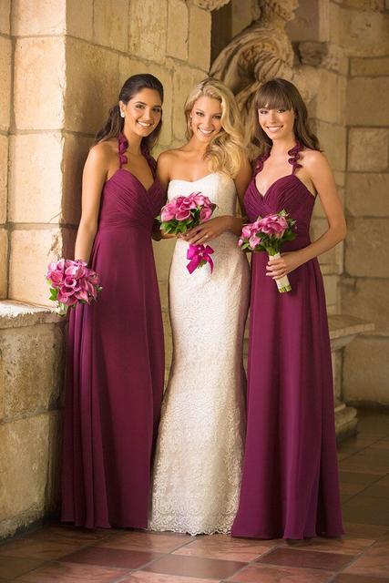 Vestidos De Baño Estilo Halter:dama de honor vestidos Halter 2015 nueva moda más tamaño dama de