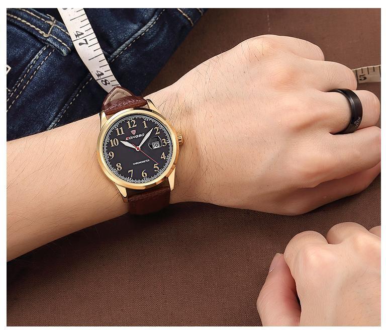 LONGBO Luxury Brand Мужчины Военной Geniune Кожа Кварцевые Часы 2016 Мода мужская Дата Календарь Бизнес Наручные Часы Relogio 80206