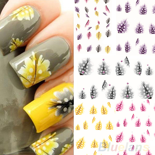 1 Sheet New fashion creative Feather 3D Nail Art Water Decal Sticker Fashion Tips Decoration 01RI 38ZZ(China (Mainland))