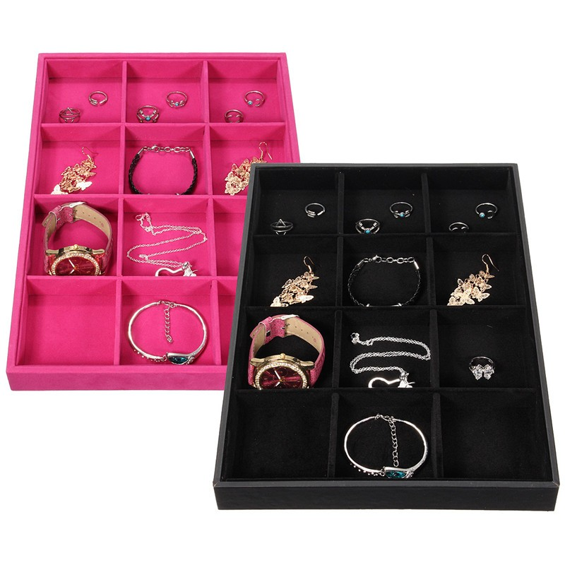 2016 New Leather Wood Jewelry Display Tray 12 Slots Rectangle Jewelry Show Case Storage Box For Necklace Bracelet Chain(China (Mainland))
