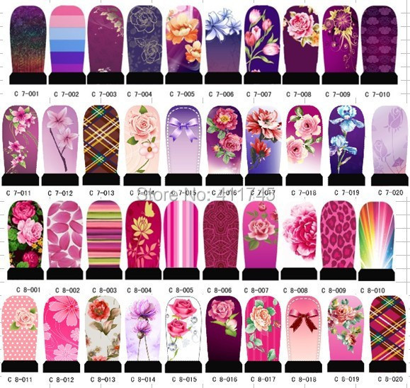 C1-C8 series New Arrival !! Best selling!! 50sheets/lot hundreds designs water decals DIY nail art sticker, Nail art use