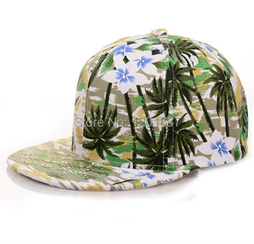 Unisex Refreshingly Coconut Palm Flowers Printed Flat-brim Cap for Men Women Baseball Hip Hop Caps Snapback Hats Goldtop(China (Mainland))