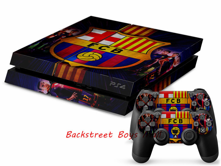 Free Shipping Barcelona Skin Sticker For Sony Playstation 4 PS4 Console protection film and Cover Decals Of 2 Controller(China (Mainland))
