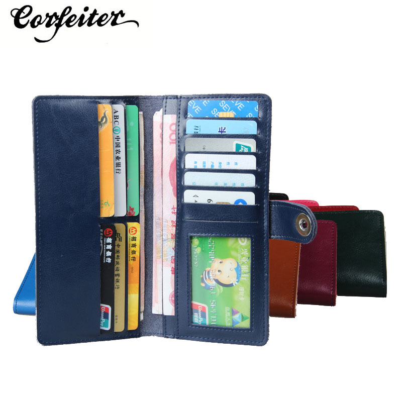 fashion women wallet genuine leather wallet long two fold wallet girl leather purse student money clips colors(China (Mainland))