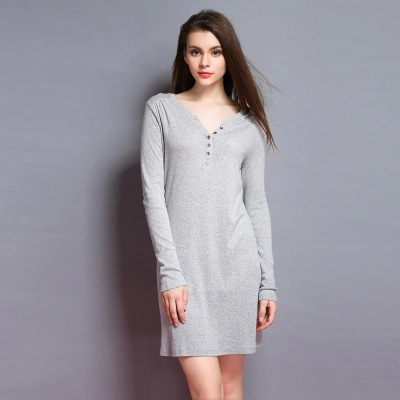 Modal cotton long nightgown, 2015 new pajamas gray and pink lovely young girls sleepwear plus size S-XL casual home dress women(China (Mainland))