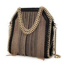 NIGEDU marca de design de metal borla saco de Ombro das mulheres bolsa pequena cadeia Tecelagem Mulheres lady Crossbody messenger Bags bolsas(China)