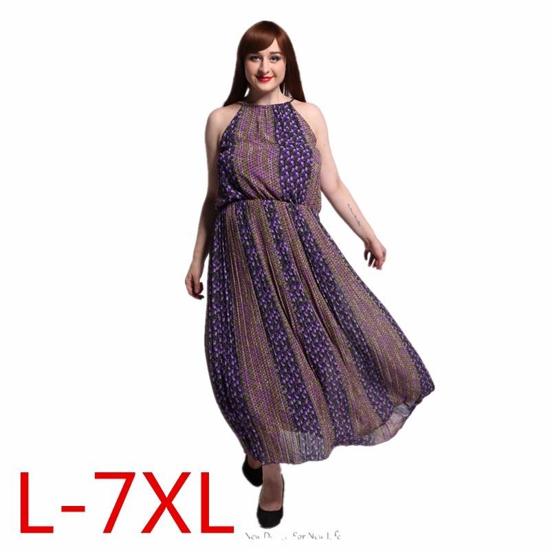 2016 Womens vintage Elegant Beach Chiffon Dress Big Sizes Sexy Maxi Long Dresses Plus Size 6XL 7XL vestidos 9013(China (Mainland))