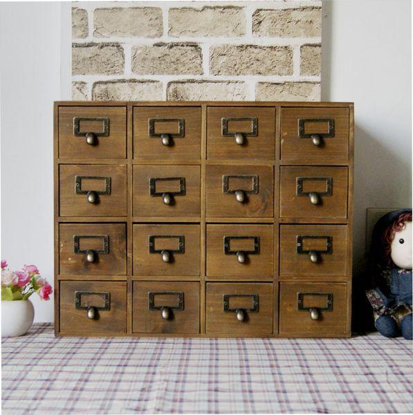 Zakka storage wooden desktop storage cabinet 16 cabinet drawer finishing display cabinet