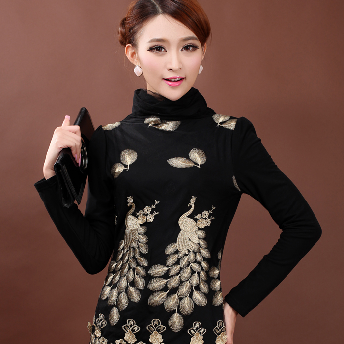 2016 Autumn Winter Warm Lace Thick Women Shirt Turtleneck Puff Sleeve Casual Appliques Female Fashion Basic Shirt Black Color(China (Mainland))