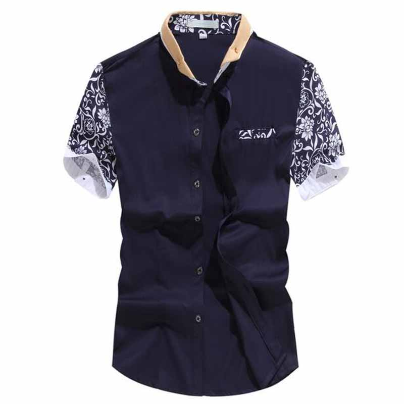 Casual Shirt Men 2016 Famous Brand Men Shirt With short sleevesPatchwork Slim Fit Shirts Social Male Holistic Chemise Men(China (Mainland))