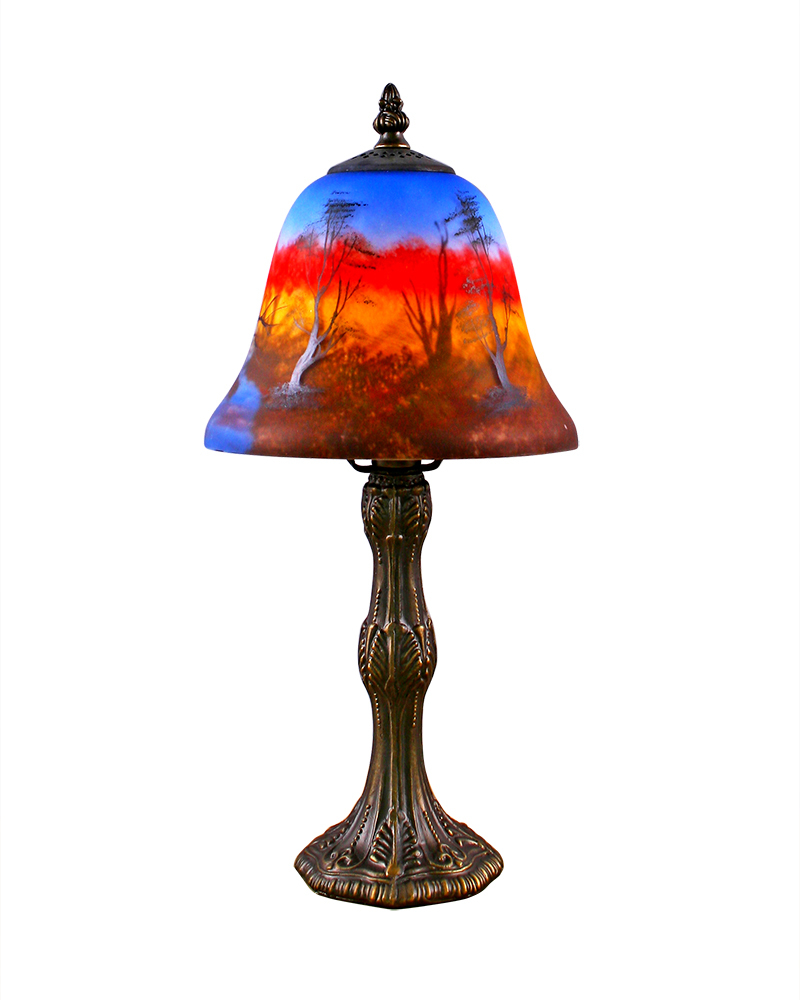 classic style table lamp with hand painted shade with stained glass. Black Bedroom Furniture Sets. Home Design Ideas