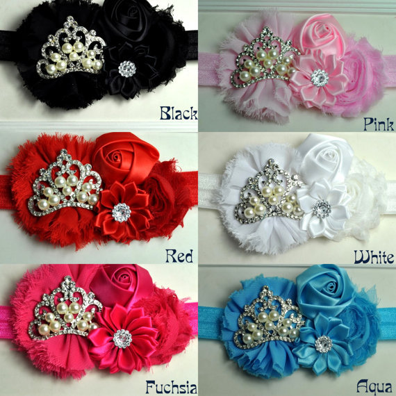 DHL Free Baby Girl Headband Shabby Chiffon Cluster Flowers with Princess Tiara Crown Headband Hair Accessories 144Одежда и ак�е��уары<br><br><br>Aliexpress