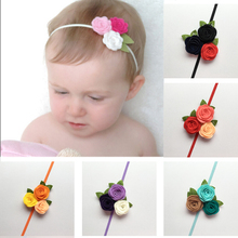 Buy Headband Baby Girl Triple Felt Rose Flower Hair band Kids Toddler Christmas Headwear Princess Photo Props Hair Accessories New for $1.49 in AliExpress store