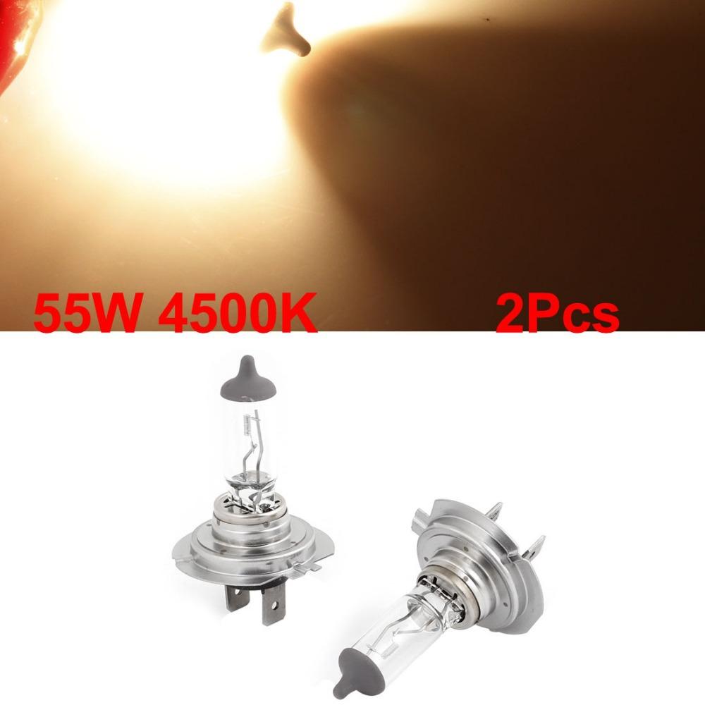 2 Pcs/lot DC 12V 55W 4500K Warm White H7 Halogen Headlight Lamp Bulb Light for Car Discount 50 Size 57mm x 33mm (L*D)(China (Mainland))