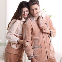 Free Shipping Winter Nobel Cotton Couples Plus Size Full-sleeve Beige Color Hick Leisurewear(China (Mainland))