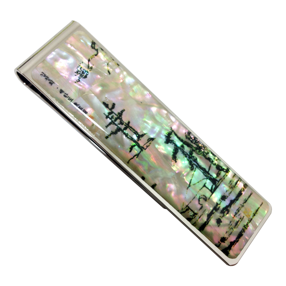 Mother of Pearl Winter Scene Black Pine Tree Painting Slim Stainless Steel Metal Money Cash Credit Card Clip Clamp Holder Wallet(China (Mainland))