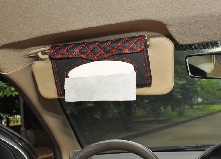 Auto Car sun visor Tissue box accessories holder Paper napkin clip- PU leather(China (Mainland))