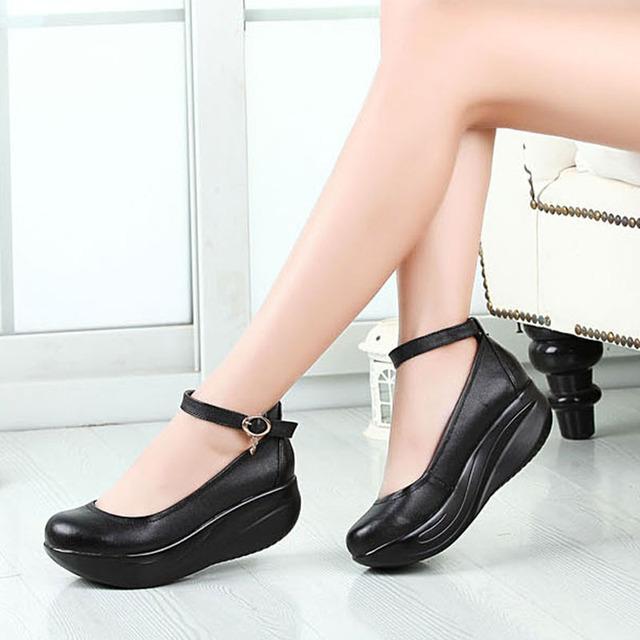 Большой размер 42 43 женщин из натуральной кожи качели обувь склон с - дном женские ...