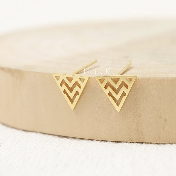Cut-out Zigzag in Triangle Stud Earrings in Gold / Silver 2015 fashion jewelry cute charm<br><br>Aliexpress