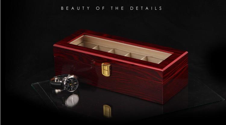 Бесплатная доставка 6 сетки часы дисплей Box красный высокий свет лак деревянные часы коробки модный дизайн часы хранения подарочные коробки B0319