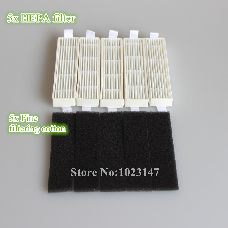 5x Ecovacs HEPA Filter and 5x Fine filtration Cotton Replacement for D36A TEK TCR-S TCR-S2 TCR660 M1(China (Mainland))